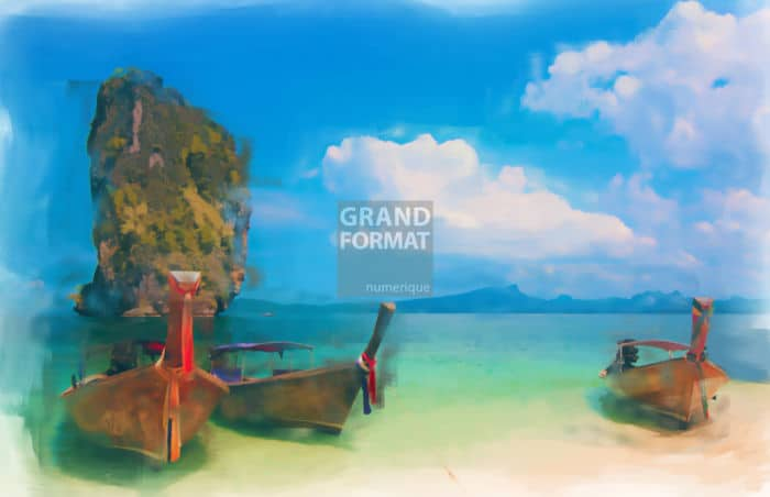 Voile barque Asie impression et toile